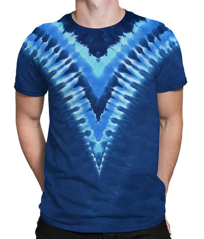 Cool Blue V Unprinted Tie-Dye T-Shirt