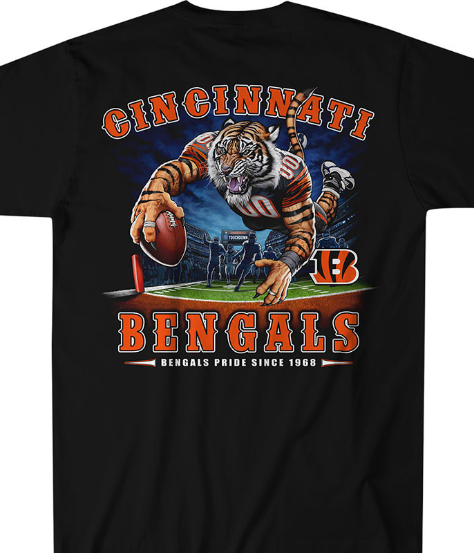 NFL Cincinnati Bengals End Zone Black T-Shirt Tee Liquid Blue