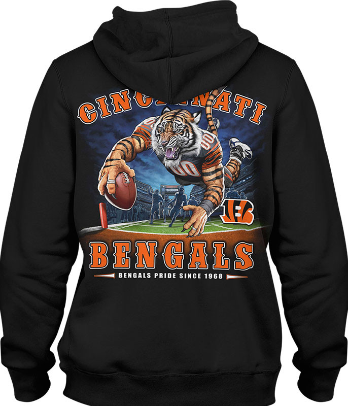 NFL Cincinnati Bengals End Zone Black Hoodie Liquid Blue