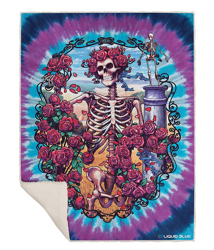 Grateful Dead 30th Anniversary Fleece Throw Blanket Liquid Blue