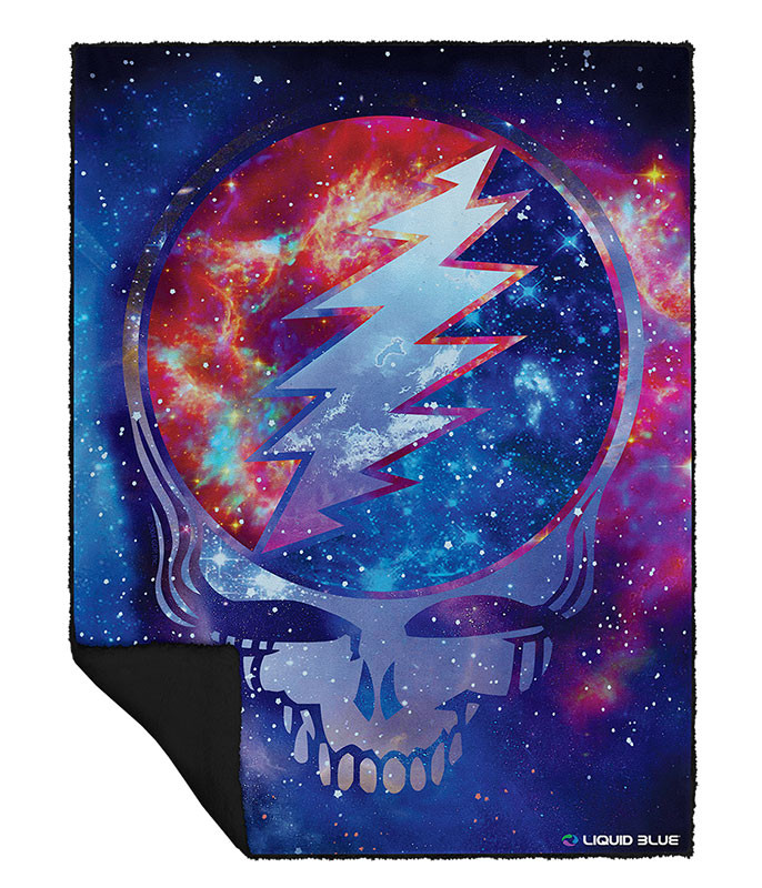 Grateful Dead Cosmic Stealie Fleece Throw Blanket Liquid Blue