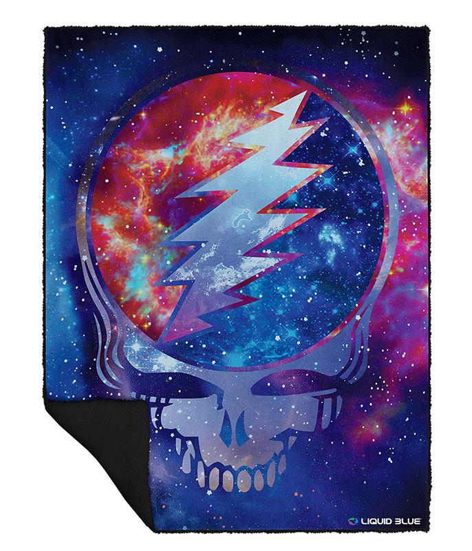 Grateful Dead Cosmic Stealie Fleece Throw Blanket Liquid Blue