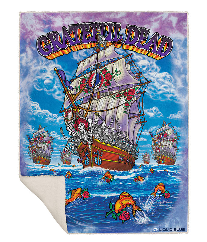 Grateful Dead Ship of Fools Fleece Throw Blanket Liquid Blue
