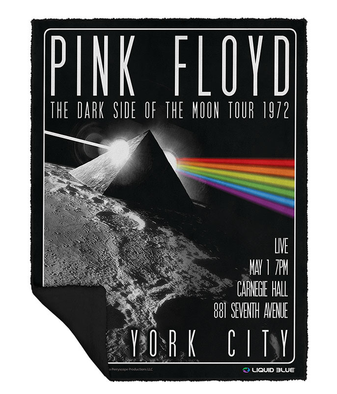 Pink Floyd Dark Side Live Fleece Throw Blanket Liquid Blue