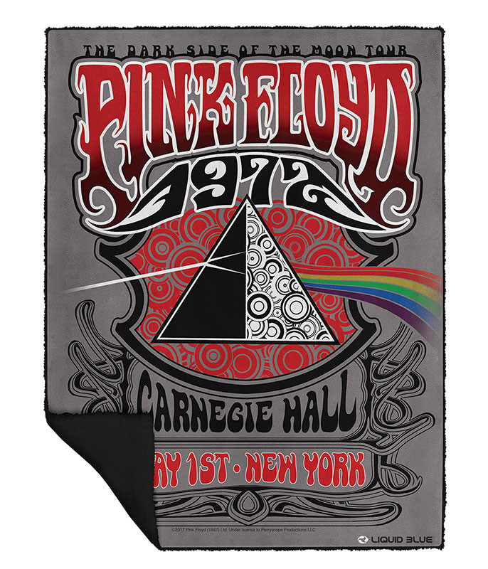 Pink Floyd Carnegie Hall Fleece Throw Blanket Liquid Blue