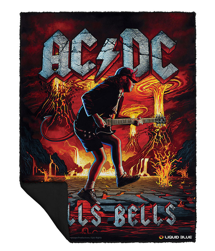 AC/DC Rock Eruption Fleece Throw Blanket Liquid Blue