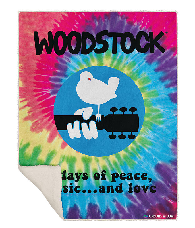 Woodstock Spiral Fleece Throw Blanket Liquid Blue