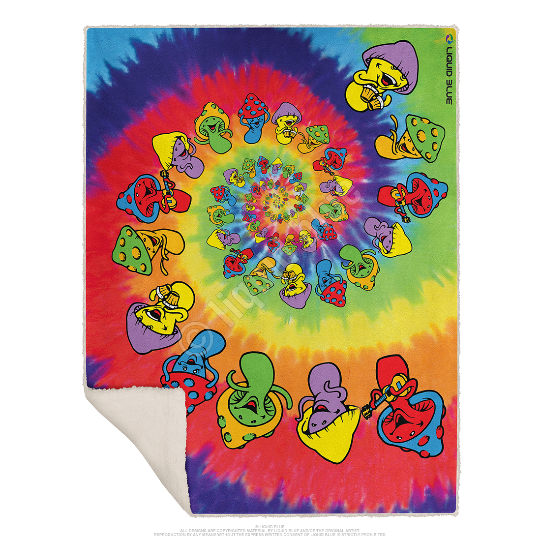 Spiral Shrooms Fleece Throw Blanket