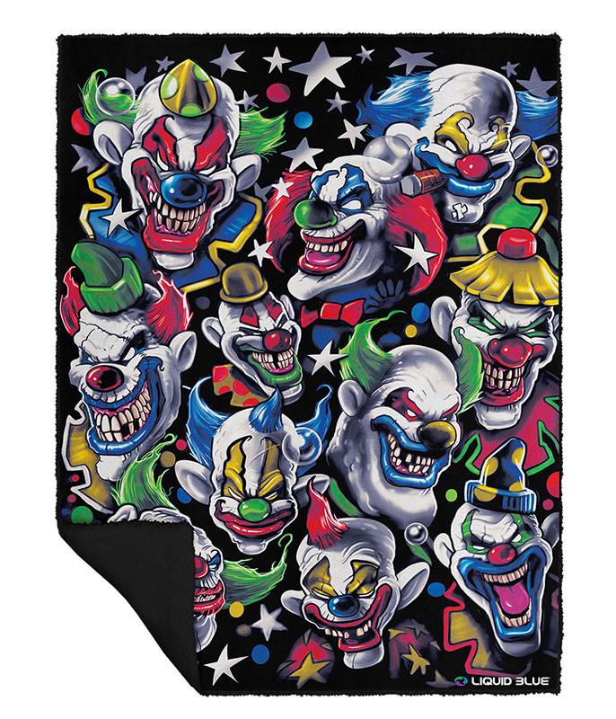 Colored Clowns Fleece Throw Blanket Liquid Blue Fascinating Metallica Throw Blanket