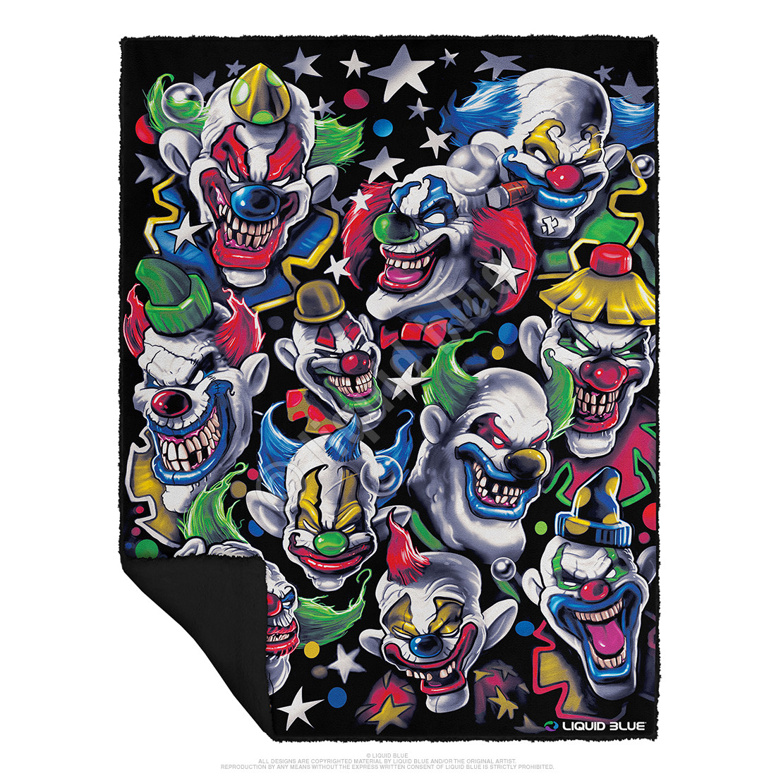 Colored Clowns Fleece Throw Blanket