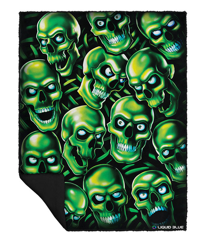 Skull Pile Fleece Throw Blanket Liquid Blue Juicy J Travis Scott