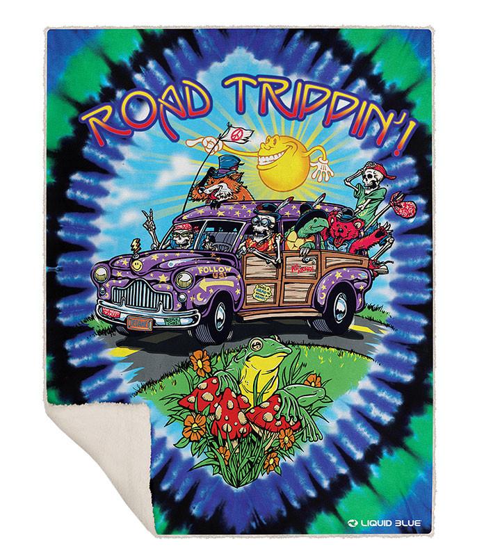 Road Trippin' Fleece Throw Blanket Liquid Blue