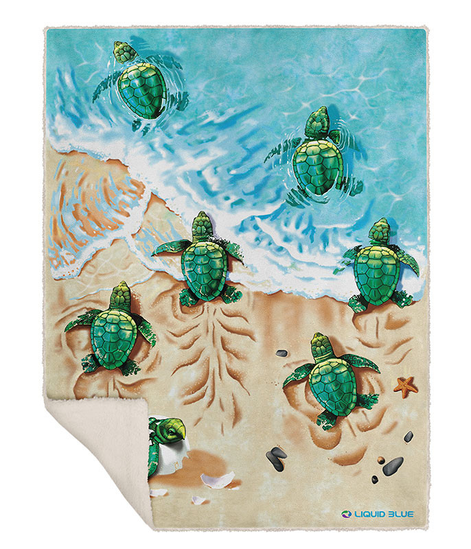 TURTLE BEACH FLEECE THROW BLANKET