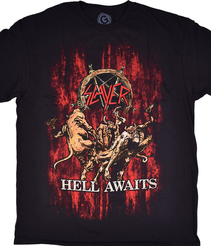 SLAYER AWAITS BLOOD BLACK T-SHIRT