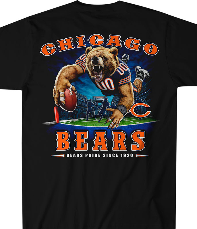 NFL Chicago Bears End Zone Black T-Shirt Tee Liquid Blue