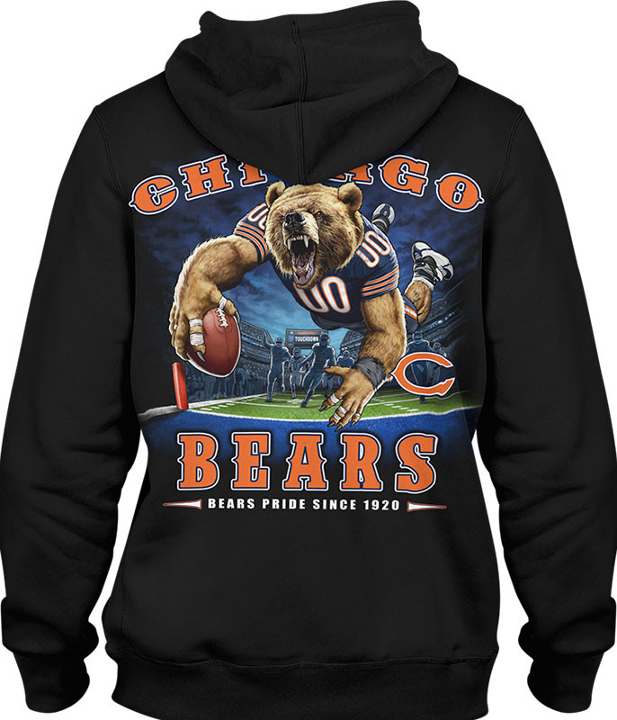 NFL Chicago Bears End Zone Black Hoodie Liquid Blue