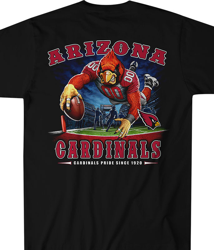 NFL Arizona Cardinals End Zone Black T-Shirt Tee Liquid Blue