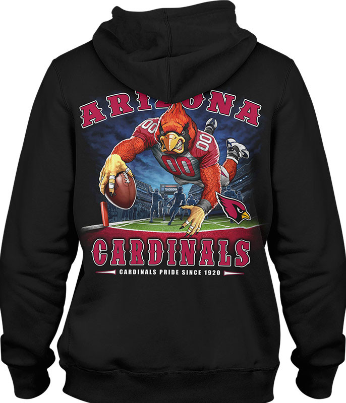 NFL Arizona Cardinals End Zone Black Hoodie Liquid Blue