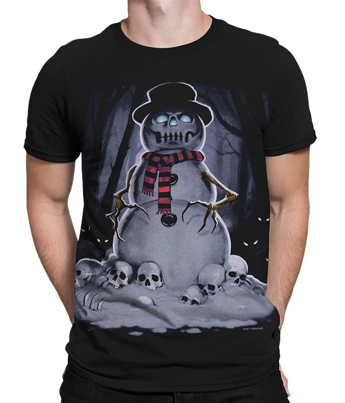 Fantasy Snowman Black T-Shirt Tee Liquid Blue