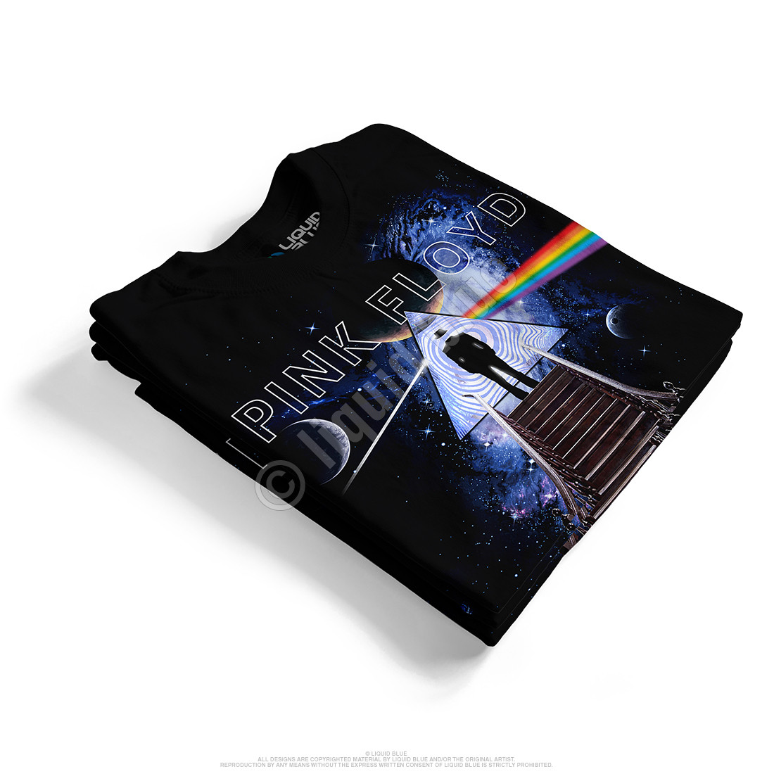 Stairway to the Moon Black Athletic T-Shirt