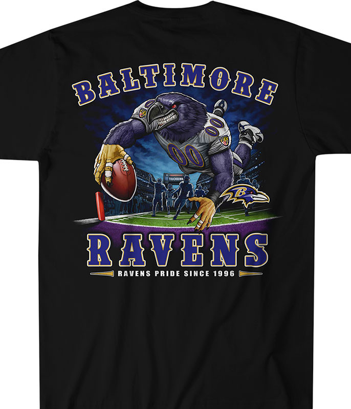 NFL Baltimore Ravens End Zone Black T-Shirt Tee Liquid Blue