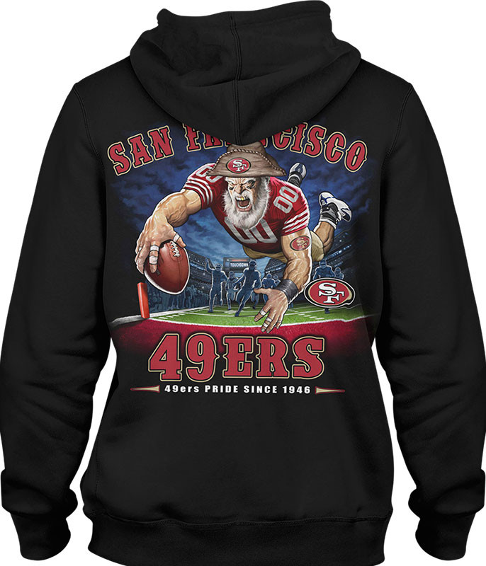 NFL San Francisco 49ers End Zone Black Hoodie Liquid Blue