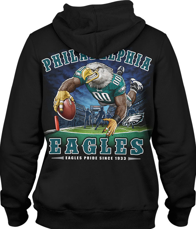 NFL Philadelphia Eagles End Zone Black Hoodie Liquid Blue
