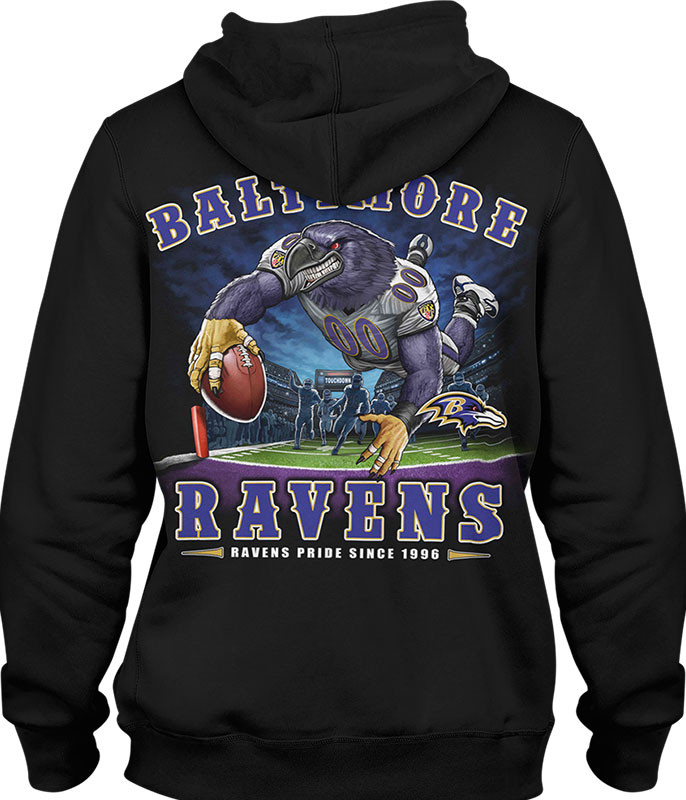 NFL Baltimore Ravens End Zone Black Hoodie Liquid Blue