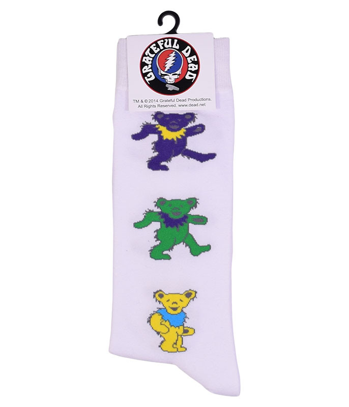 Grateful Dead Dancing Bears Men's White Socks