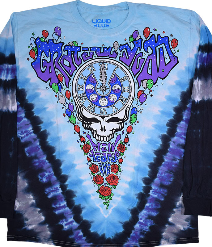 Grateful Dead Midnight Hour Tie-Dye Long Sleeve T-Shirt Tee Liquid Blue