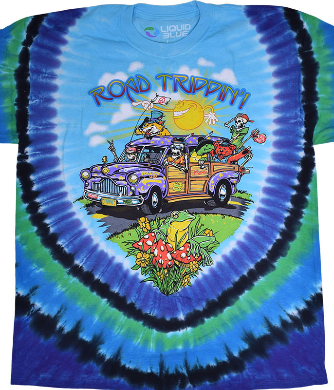 Light Fantasy Road Trippin' Tie-Dye T-Shirt Tee Liquid Blue