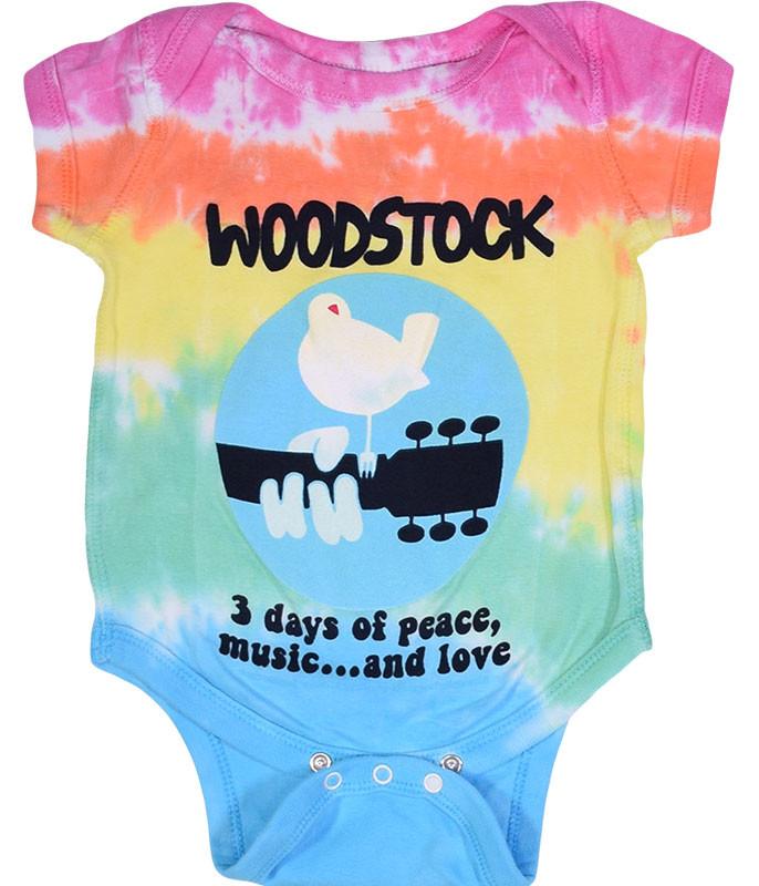 Woodstock Banded Tie-Dye Onesie Liquid Blue