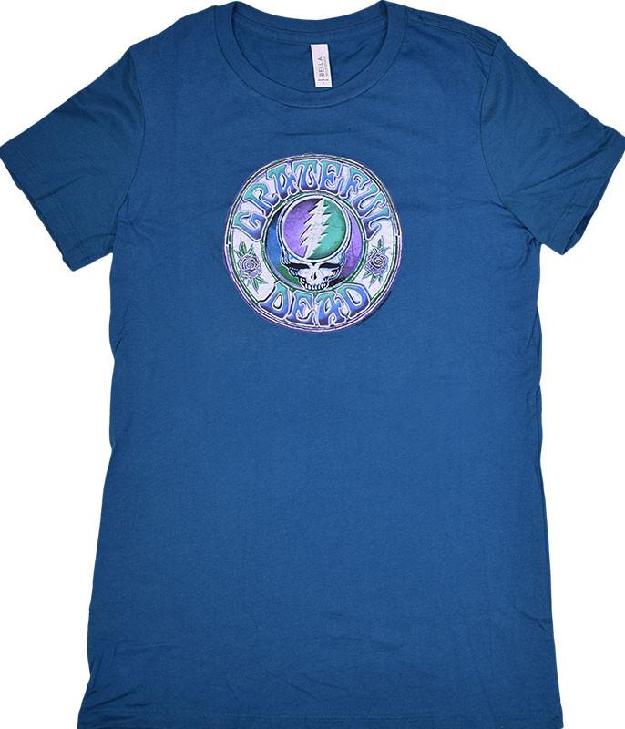 Grateful Dead GD Batik SYF Blue Juniors Long Length T-Shirt Tee