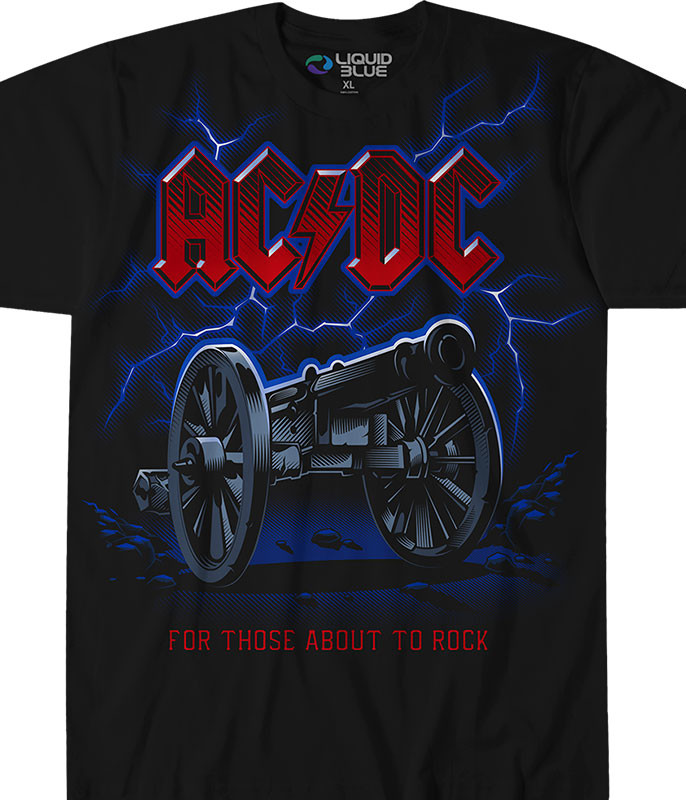AC/DC Cannon Lightning Black T-Shirt Tee Liquid Blue