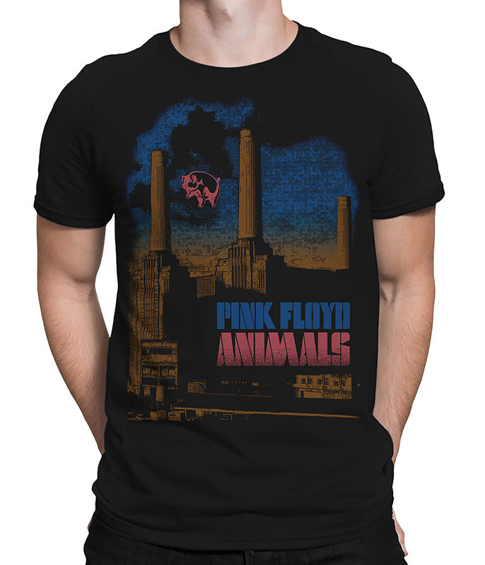 Pink Floyd Pig Stain Black Athletic T-Shirt Tee Liquid Blue