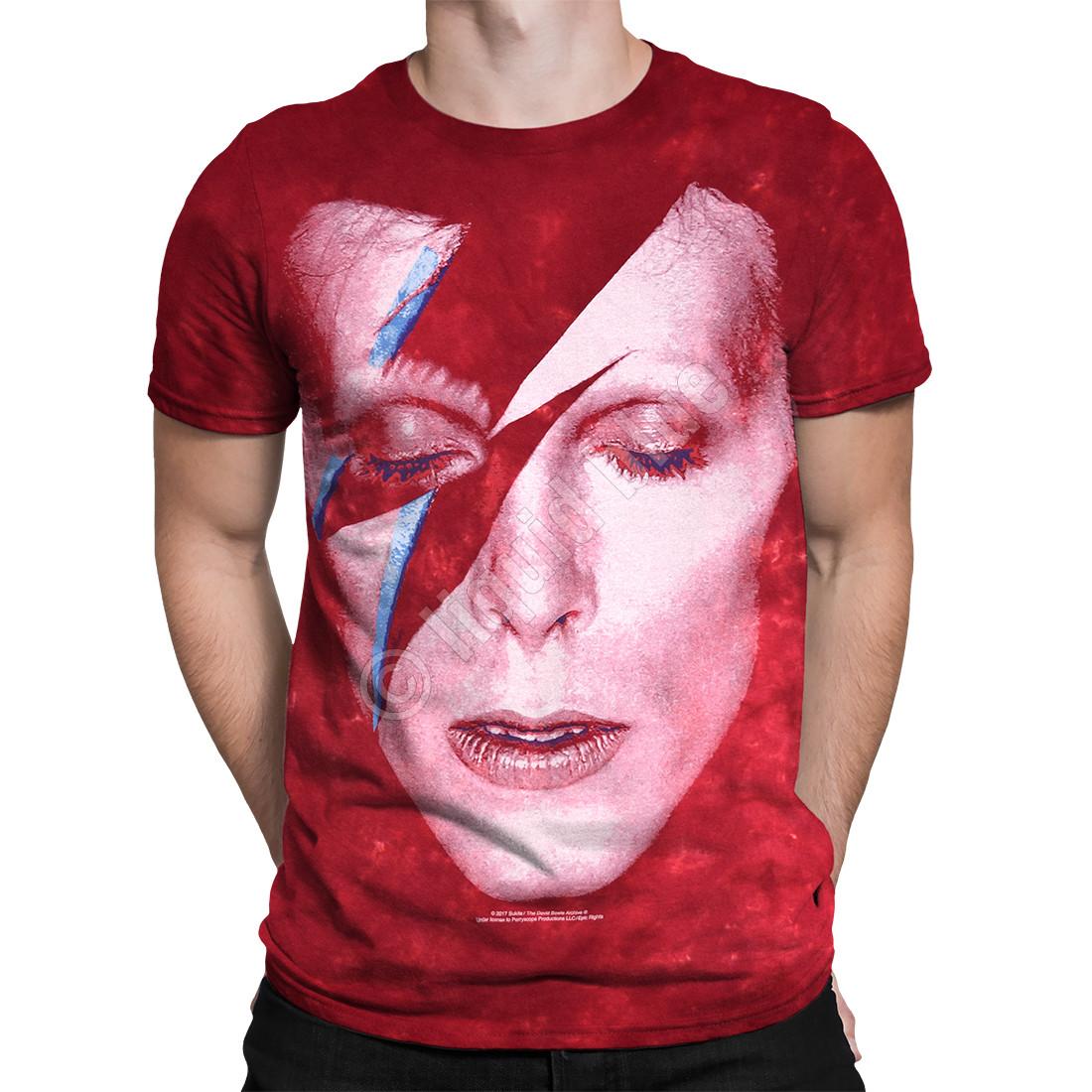 baa9a436 David Bowie Aladdin Sane Tie-Dye T-Shirt Tee Liquid Blue