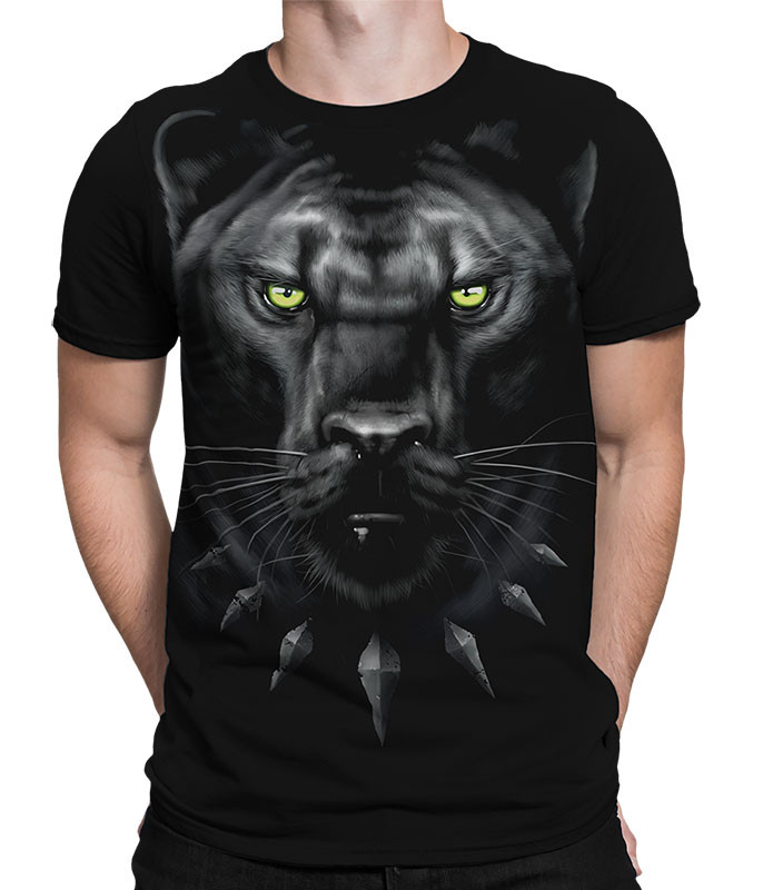 Exotic Wildlife King Panther Black Athletic T-Shirt Tee Liquid Blue
