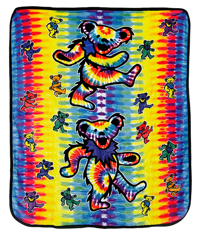 Grateful Dead GD Dancing Bear Tie-Dye Fleece Blanket