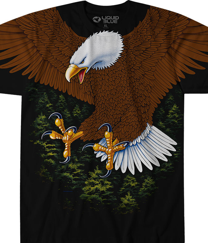 American Wildlife Vintage Eagle Black T-Shirt Tee Liquid Blue