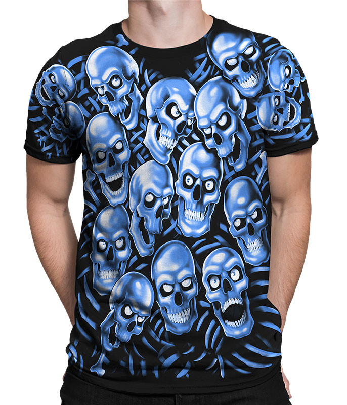 1a40b590951 Skull Pile Blue Black T-Shirt