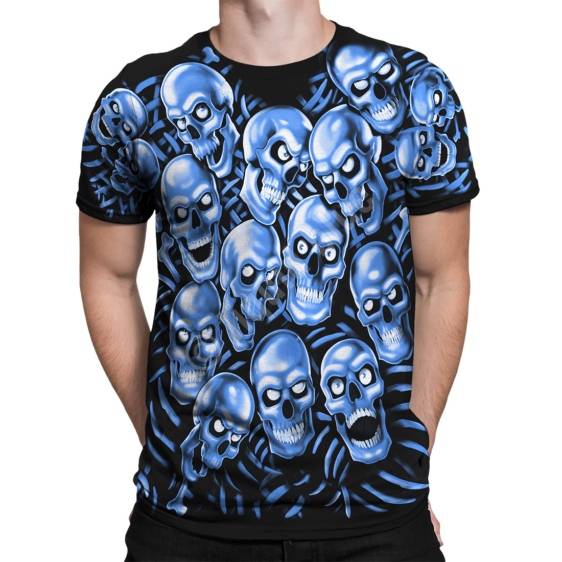 Skull Pile Blue Black T-Shirt