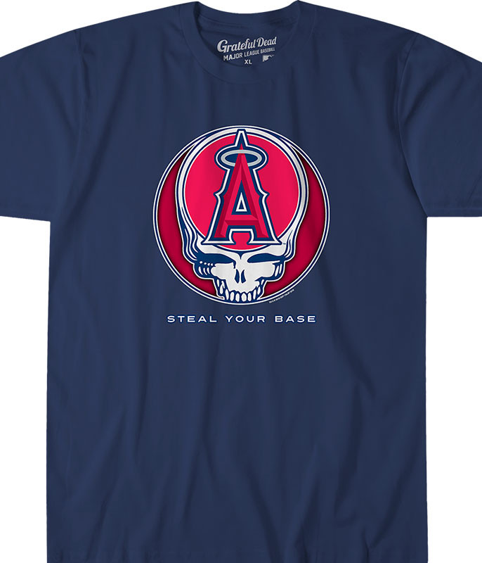 MLB Los Angeles Angels GD Steal Your Base Navy Athletic T-Shirt Tee Liquid Blue