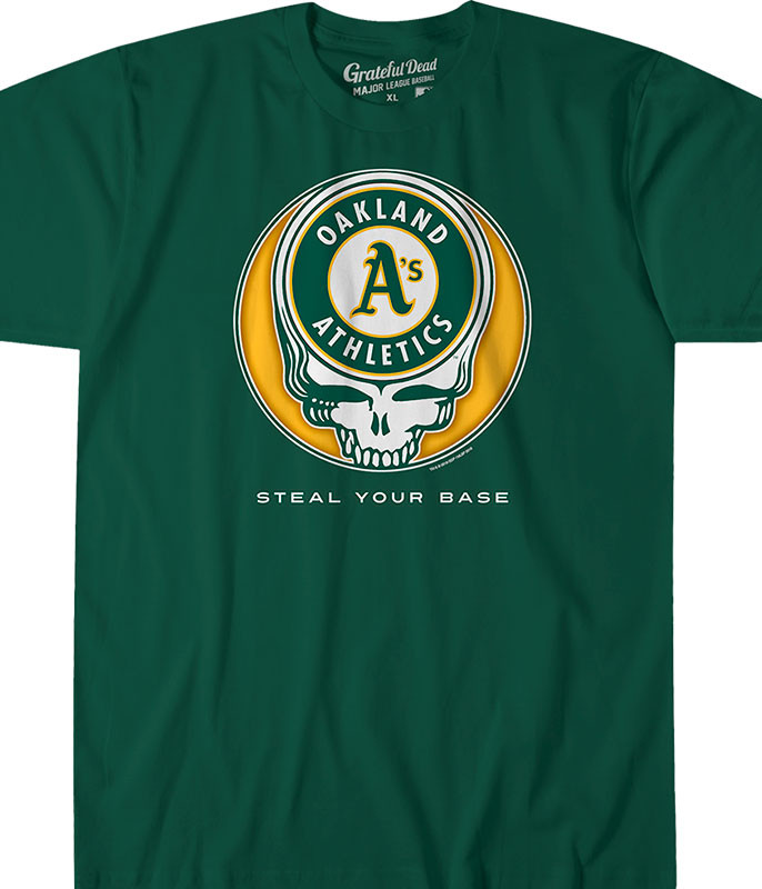 MLB Oakland Athletics GD Steal Your Base Green Athletic T-Shirt Tee Liquid Blue