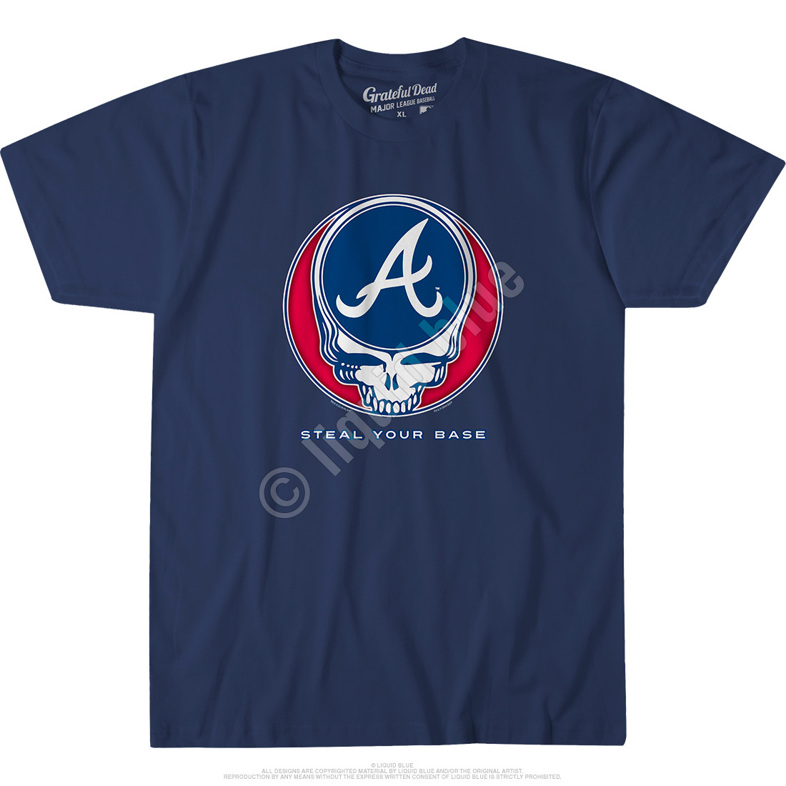 Atlanta Braves Steal Your Base Navy Athletic T-Shirt