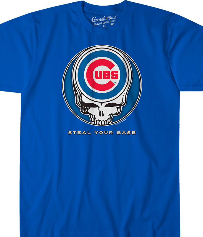 MLB Chicago Cubs GD Steal Your Base Blue Athletic T-Shirt Tee Liquid Blue