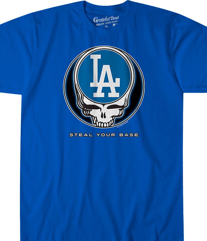MLB Los Angeles Dodgers GD Steal Your Base Blue Athletic T-Shirt Tee Liquid Blue