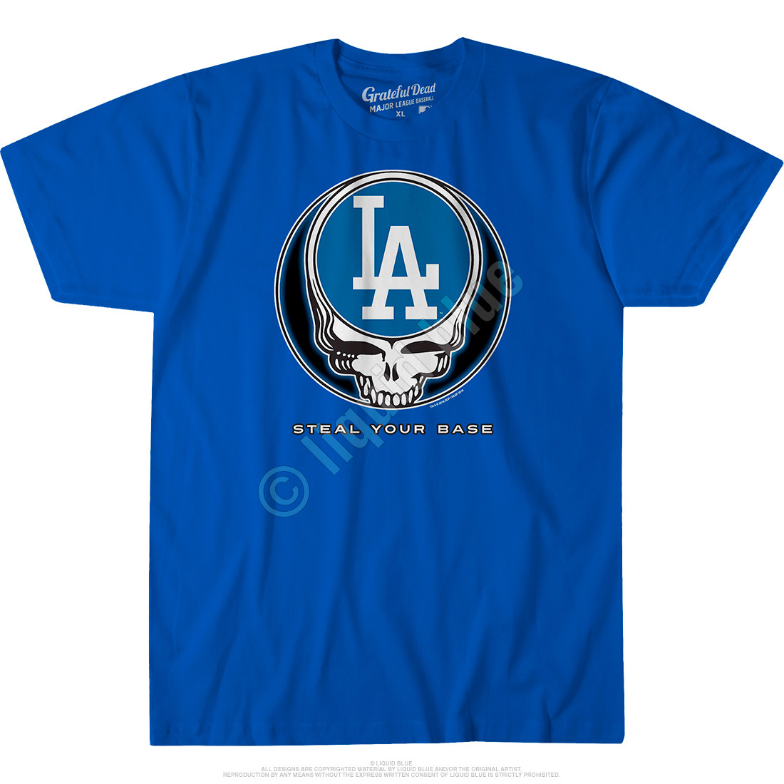 Los Angeles Dodgers Steal Your Base Blue Athletic T-Shirt