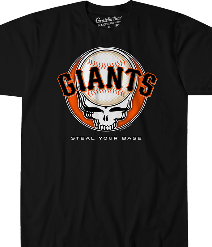 MLB San Francisco Giants GD Steal Your Base Black Athletic T-Shirt Tee Liquid Blue