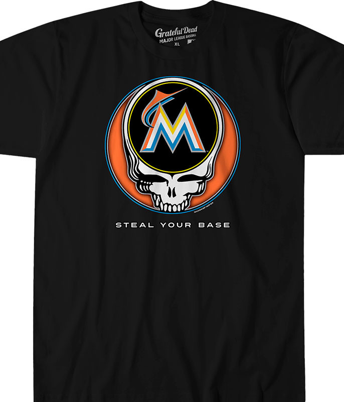 MLB Miami Marlins GD Steal Your Base Black Athletic T-Shirt Tee Liquid Blue