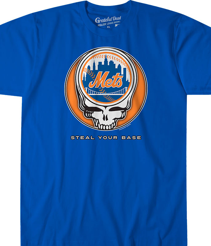 MLB New York Mets GD Steal Your Base Blue Athletic T-Shirt Tee Liquid Blue
